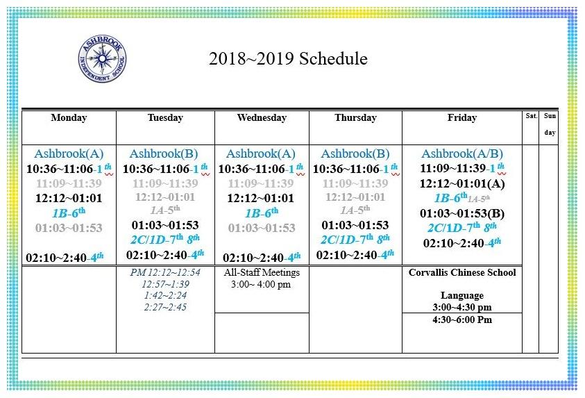2018~19 Schedule