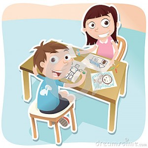 two-children-drawing-together-cartoon-63509429