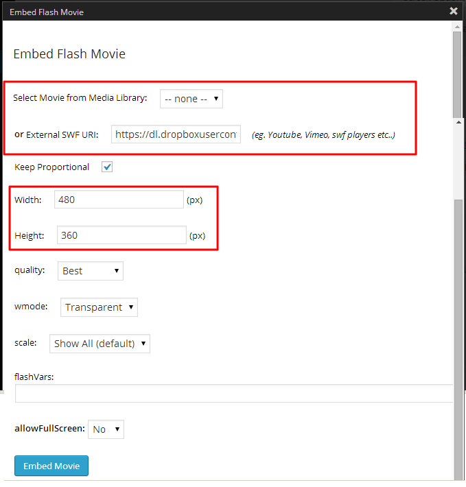 embed flash to wordpress