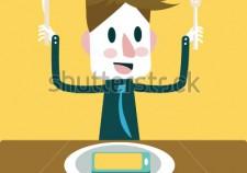 stock-vector-enjoy-eating-smart-phone-menu-smart-phone-mania-flat-design-vector-illustration-216983488